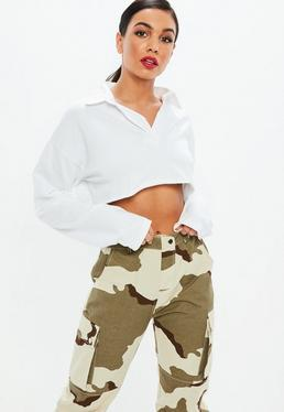 White Boxy Cropped Rugby Shirt