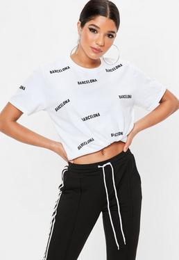 Biały owersajzowy T-shirt barcelona