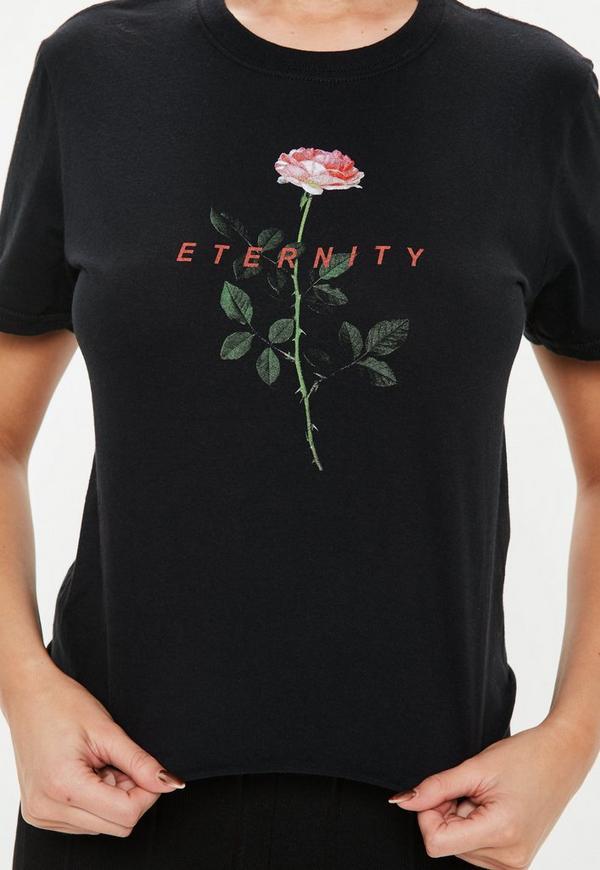 kurzes t shirt mit rosen grafik in schwarz missguided. Black Bedroom Furniture Sets. Home Design Ideas