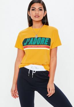 Żółty T-shirt J'adore
