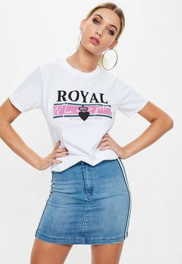 Biały luźny T-shirt Royal