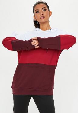 Sudadera con capucha oversize en rojo
