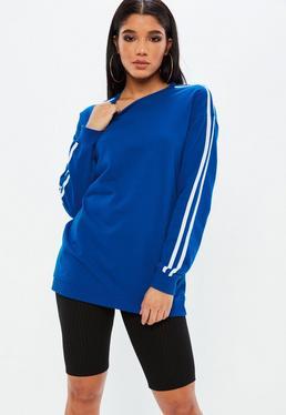 Blue Sport Stripe Sleeve Oversized Sweatshirt