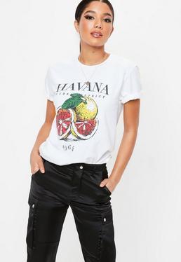 White Havana Washed Graphic T Shirt