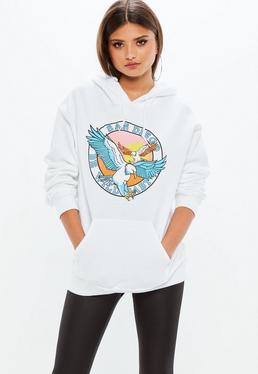 White San Diego Graphic Hoodie Sweatshirt