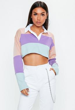 Pink Colour Block Boxy Rugby Crop Top