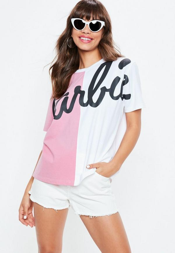 Barbie X Missguided Pink Spliced T Shirt by Missguided