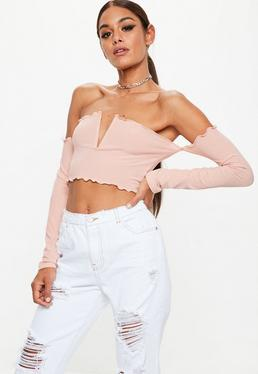 Pink V Bar Lettuce Hem Long Sleeve Crop Top