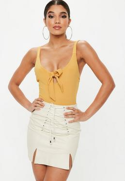 Mustard Yellow Knot Front Strappy Bodysuit