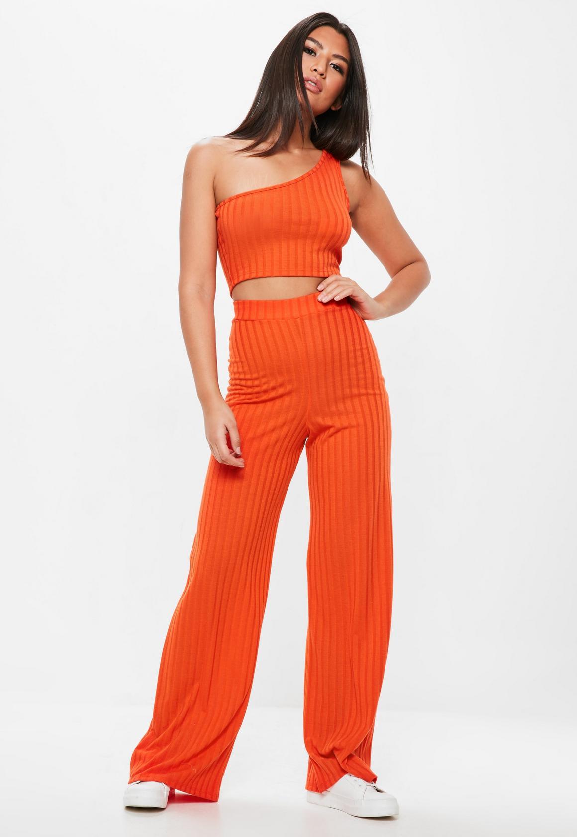 7d7dd4f172d Missguided Orange Ribbed One Shoulder Crop Top, Orange at £10   love ...