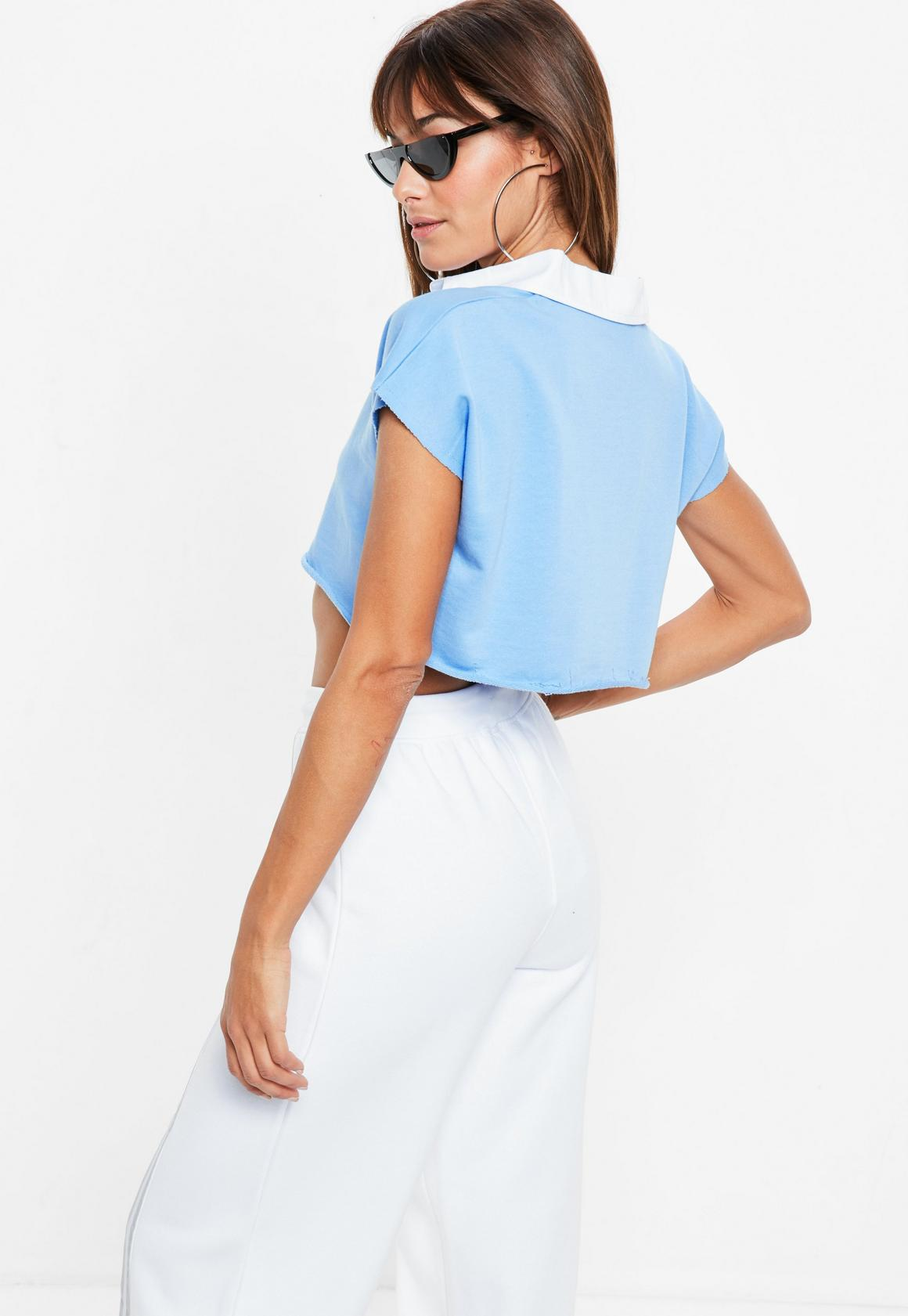 3f44a775199a4 Missguided - Blue Capped Sleeve Cropped Rugby Top