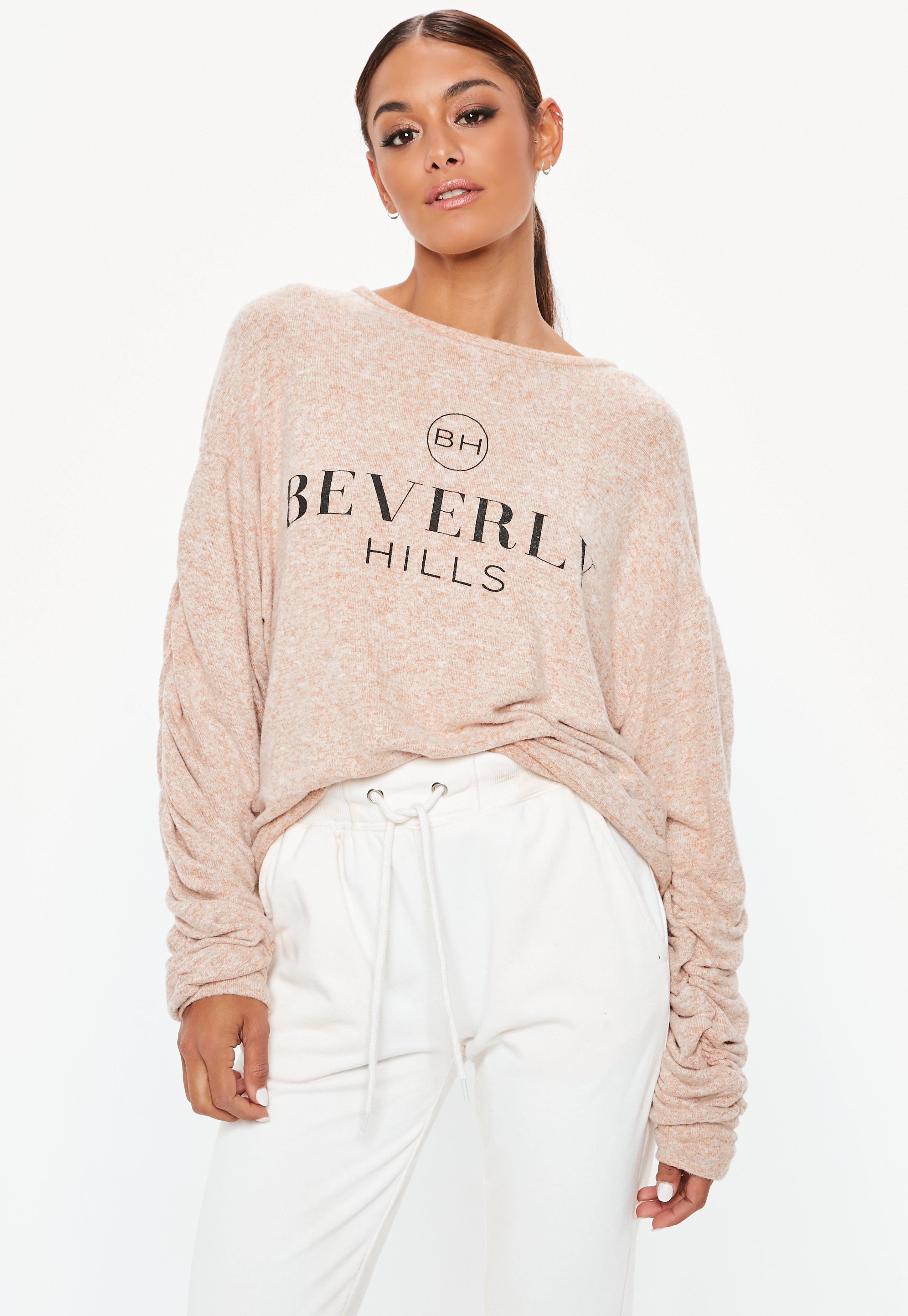 Missguided Beverly Hills Slogan Brushed Sweatshirt Buy Online P568WQoQT