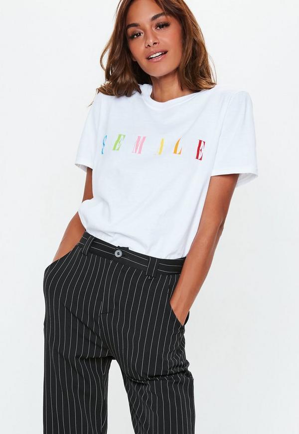 246946a3968 White Female Slogan T-Shirt