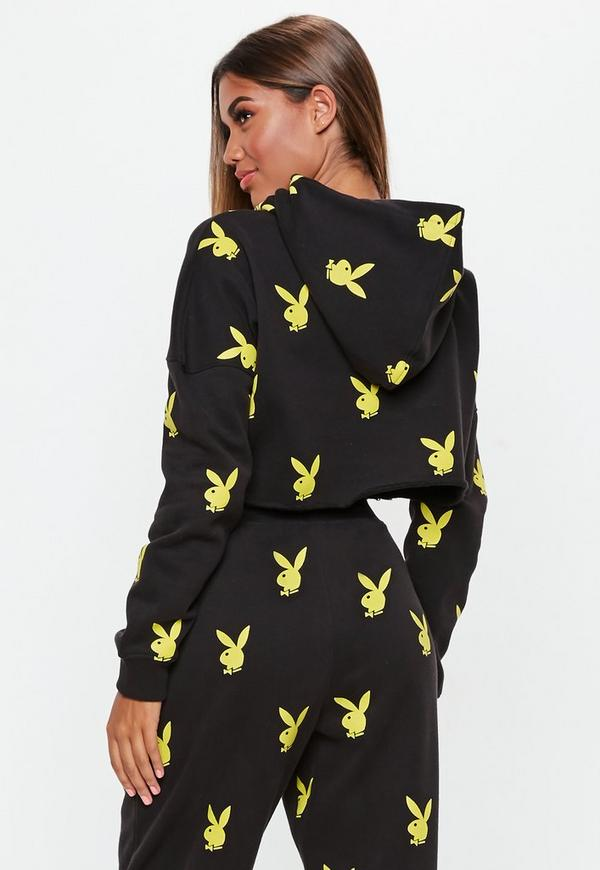 Playboy X Missguided Black Repeat Hoodie Missguided
