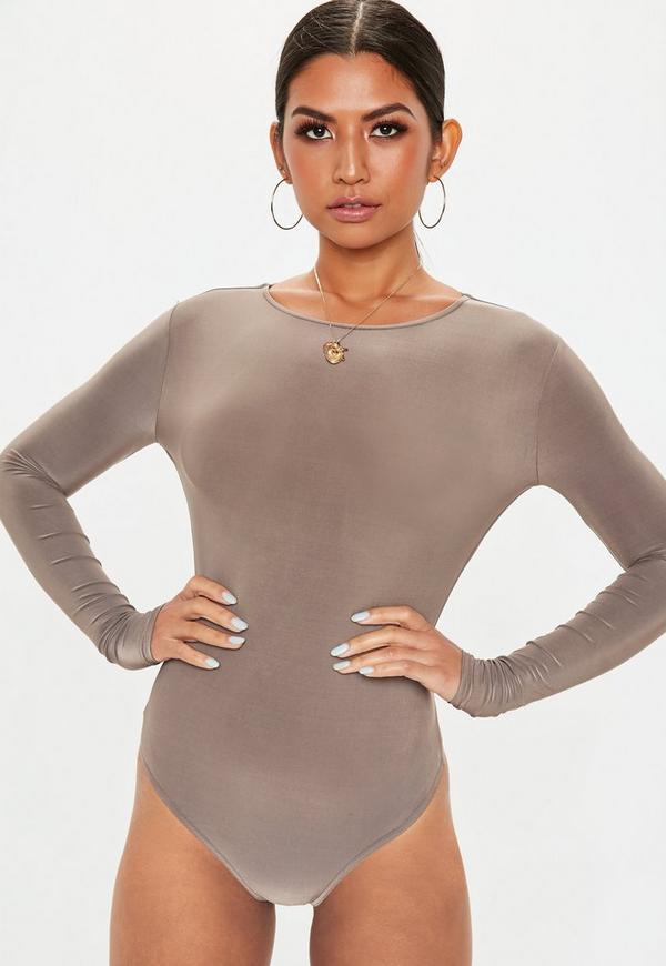 Grey Slinky Open Back Bodysuit Missguided