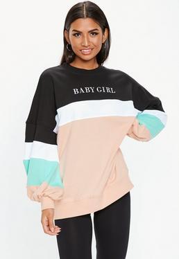 546c7c11feb1 Colour Block. Cropped Sweatshirts