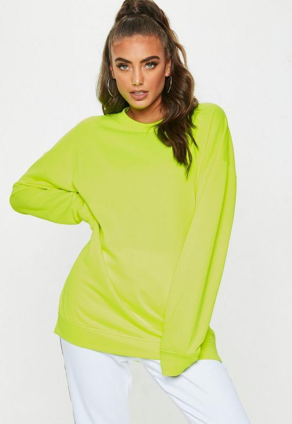 Yellow Neon Oversized Sweatshirt by Missguided