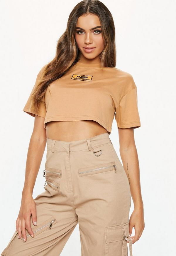 accc3276cfd Fanny Lyckman X Missguided Camel Logo Cropped T-Shirt