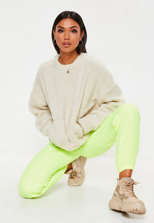 Cream Teddy Pocket Front Cropped Sweatshirt by Missguided