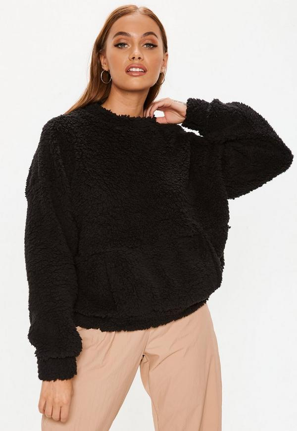 f79625d674d Tall Rose Fluffy Hooded Cropped Jumper   Missguided Australia