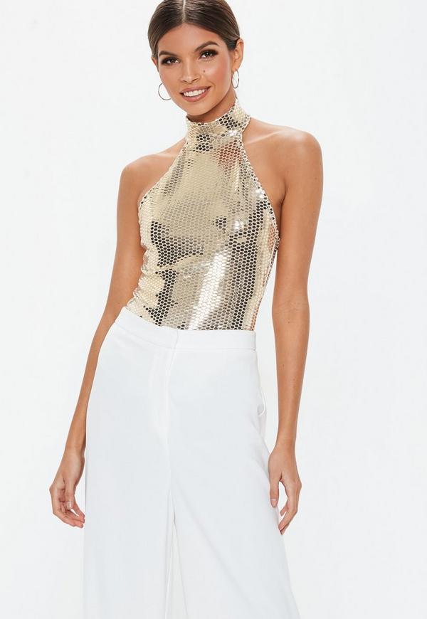 Gold High Neck Shiny Bodysuit  17686875f