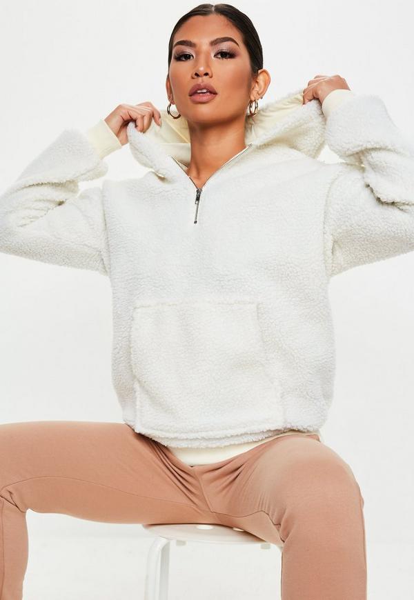 White Teddy Zip Neck Sweatshirt by Missguided