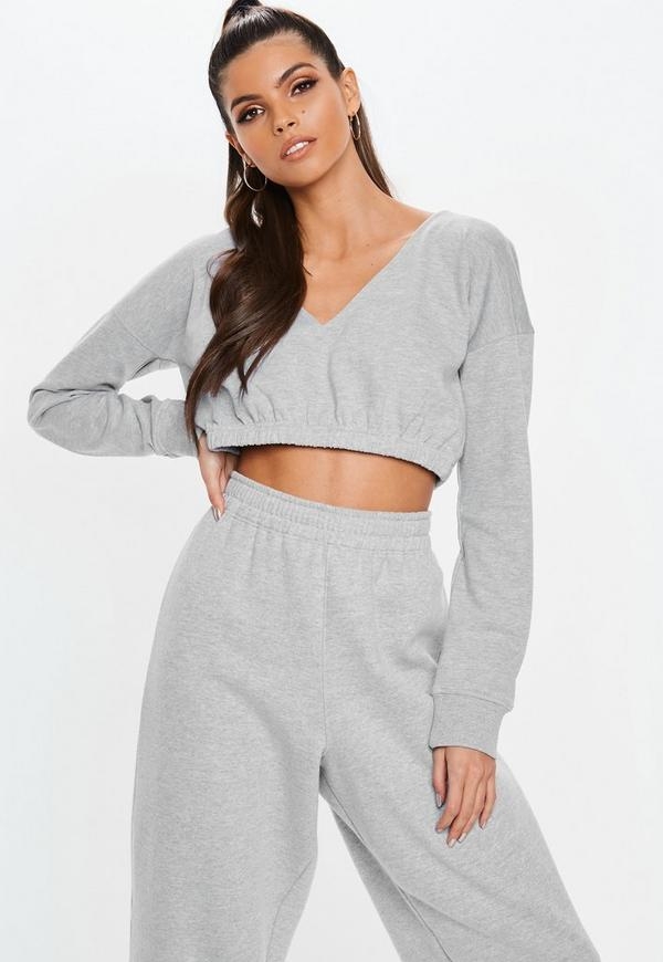 5b947b25d70d7 Grey Extreme Cropped Hoodie. Previous Next