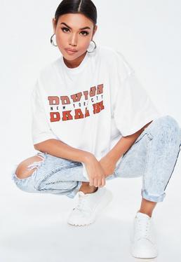 6f481cfbe1b Black Slinky Straight Neck Bodysuit · White Brooklyn Drop Shoulder T Shirt
