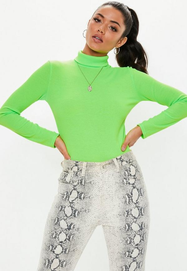 neon green ribbed roll neck top  missguided