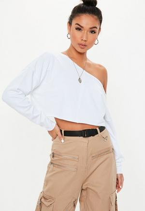£12.00. white off the shoulder cropped sweatshirt 75017c9f5