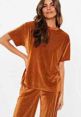 ... Bronze Velvet Pleated Boxy Co Ord T-Shirt 199579337
