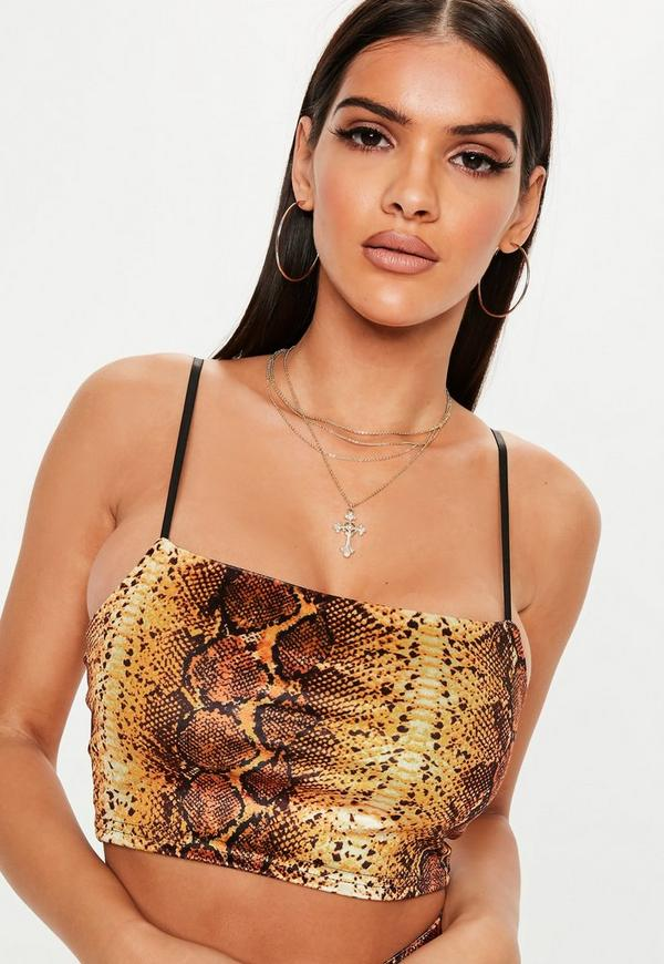 Orange Snake Print Velvet Strappy Co Ord Top by Missguided