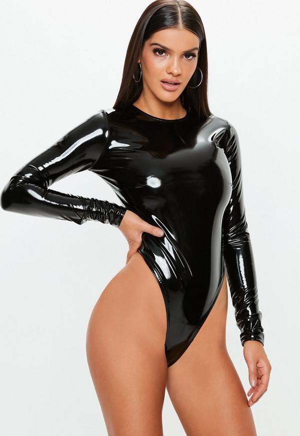 Black Vinyl Crew Neck Bodysuit Missguided