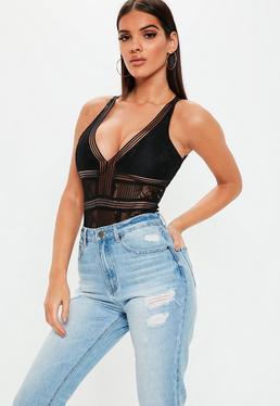 7ea8d65cf2 ... Black Sports Tape Backless Lace Bodysuit
