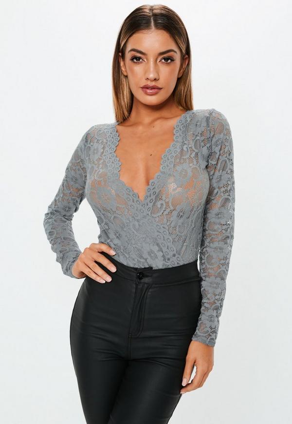 Grey Lace Deep Plunge Bodysuit  3c0642a18