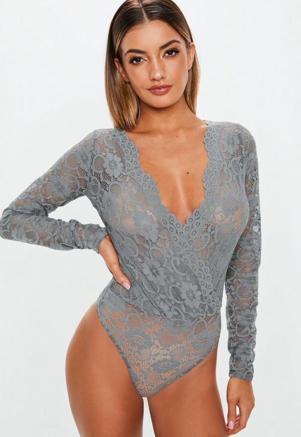 Grey Lace Deep Plunge Bodysuit. Previous Next fc88b4bc0