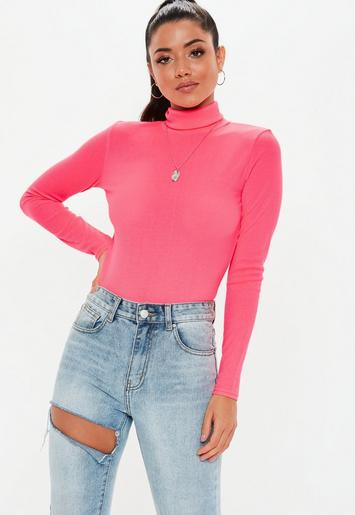 Neon Pink Ribbed Roll Neck Top Missguided