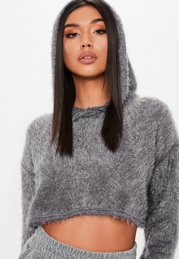 Grey Fluffy Cropped Hoodie 8fc0527a2