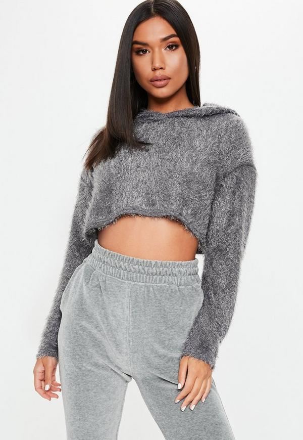 Grey Fluffy Cropped Hoodie. Previous Next a5445ec4f
