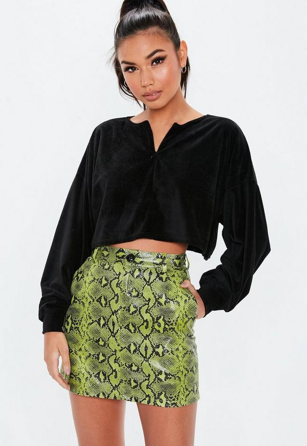 Black Fluffy Velour Cropped Sweatshirt by Missguided