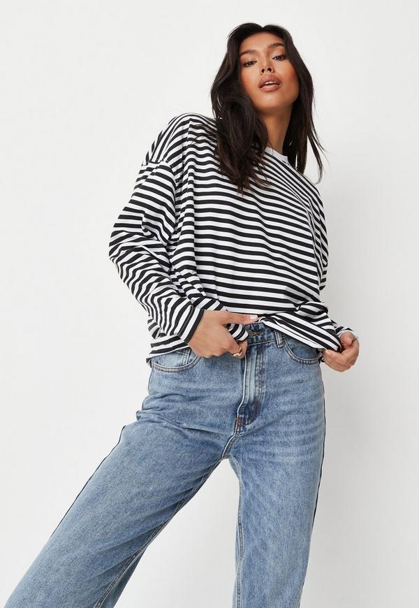 Black Stripe Drop Shoulder T Shirt by Missguided