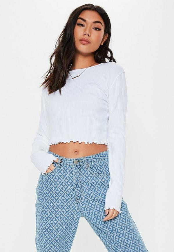 7a8f8b11bf3937 ... White Lettuce Hem Ribbed Long Sleeve Crop Top. Previous Next