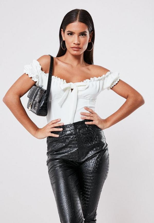 White Milkmaid Bardot Tie Front Bodysuit by Missguided