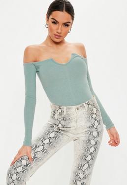 c8860a4b82 ... Grey Notch Neck Long Sleeve Bardot Bodysuit