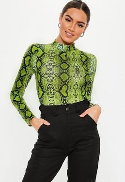 910fafb0f70 Neon Lime Slogan Ribbed Seatbelt Bodysuit · Lime Green Funnel Neck Snake  Print Bodysuit