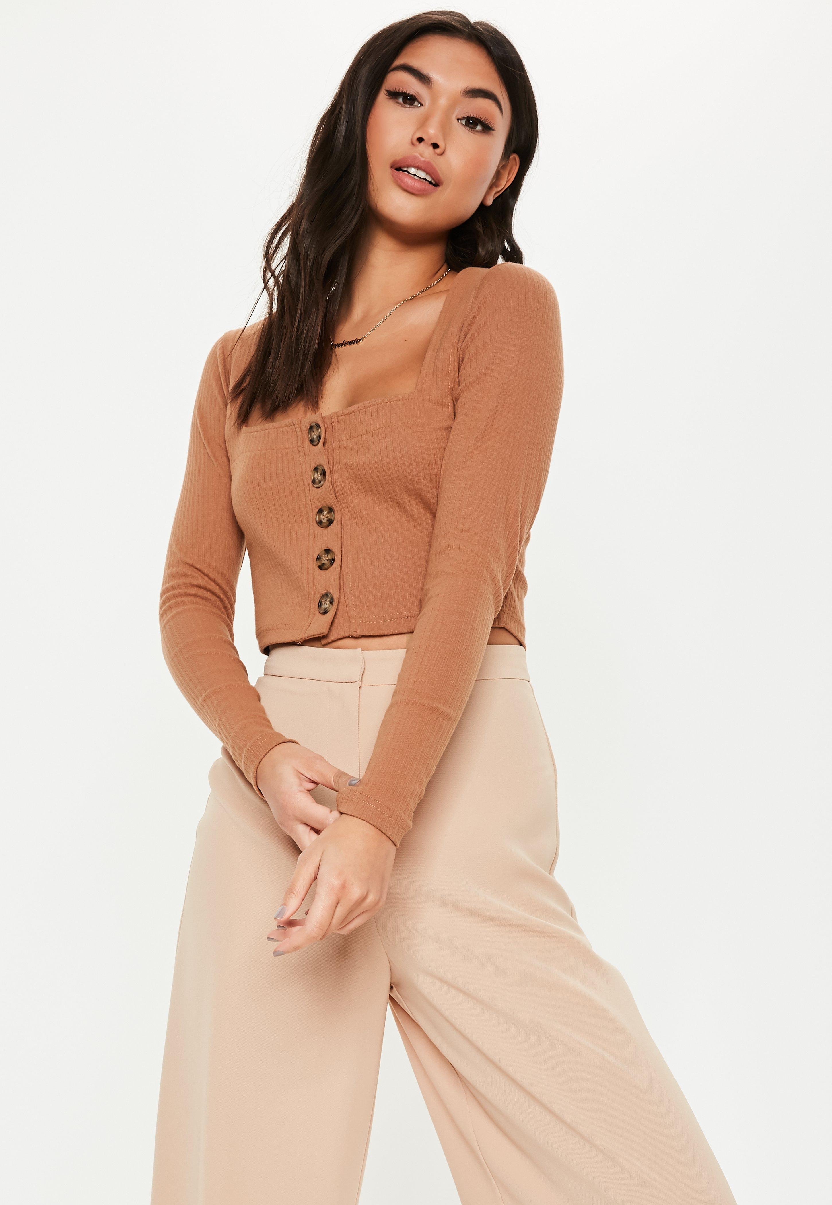 cbee0a120c5 Tan Square Neck Mock Horn Button Long Sleeve Crop Top | Missguided Australia