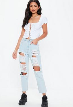 2efcd29936f ... White Lace Up Milkmaid Crop Top