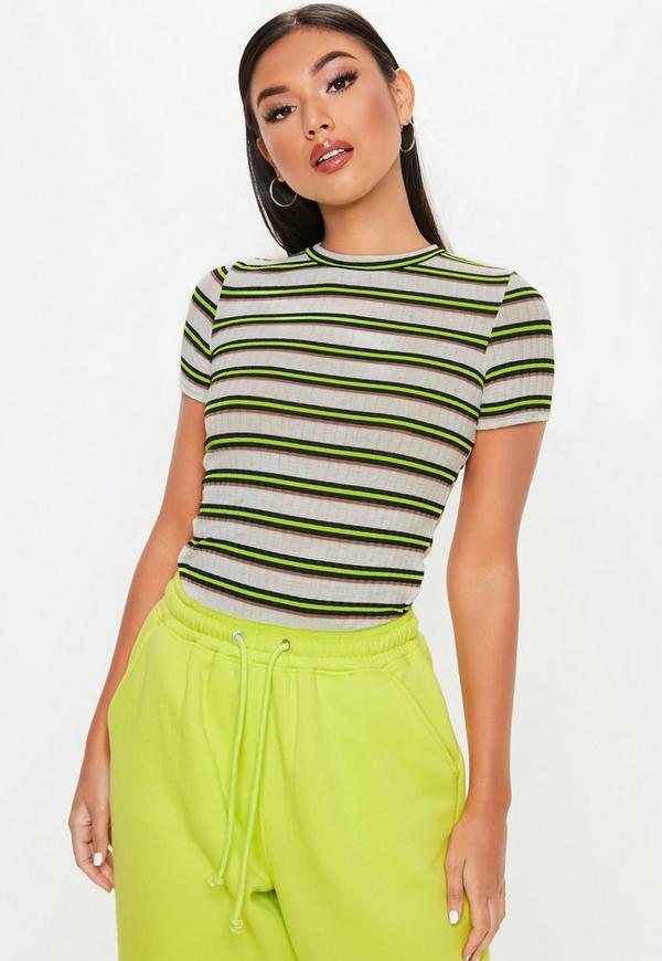 5632fcb7d6be Neon Green Stripe Crew Neck T Shirt