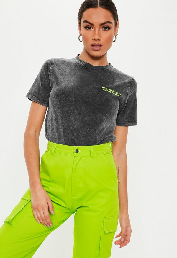 Grey New York Slogan T Shirt by Missguided