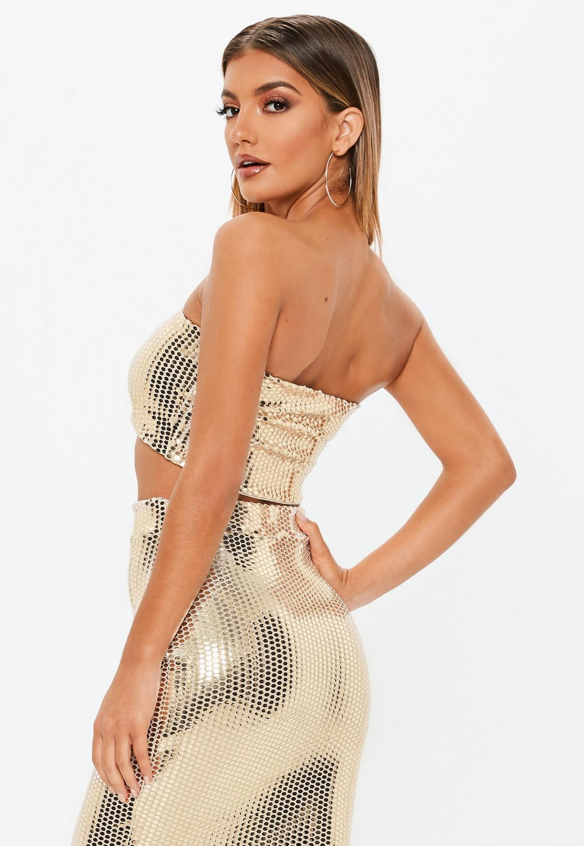 815115d3955960 Missguided Sequin Bandeau Crop Top at £15